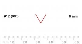 12/8-12/8, Pfeil, Gubia Recta  en V corte 12 (60°), 8mm, pico de gorrión.
