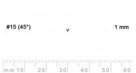 15/1-15/1, Pfeil, Gubia Recta  en V corte 15 (45°), 1mm, pico de gorrión.
