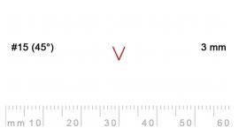 15/3-15/3, Pfeil, Gubia Recta  en V corte 15 (45°), 3mm, pico de gorrión.