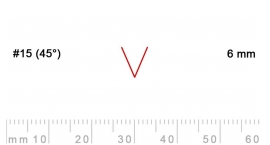 15/6-15/6, Pfeil, Gubia Recta  en V corte 15 (45°), 6mm, pico de gorrión.
