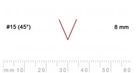 15/8-15/8, Pfeil, Gubia Recta  en V corte 15 (45°), 8mm, pico de gorrión.