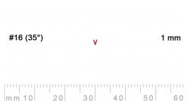 16/1-16/1, Pfeil, Gubia Recta  en V corte #16 (35°), 1mm, pico de gorrión.