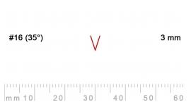 16/3-16/3, Pfeil, Gubia Recta  en V corte 16 (35°), 3mm, pico de gorrión.