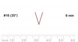 16/6-16/6, Pfeil, Gubia Recta  en V corte #16 (35°), 6mm, pico de gorrión.