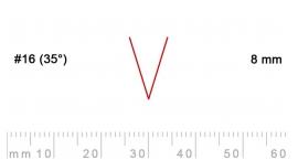16/8-16/8, Pfeil, Gubia Recta  en V corte 16 (35°), 8mm, pico de gorrión.