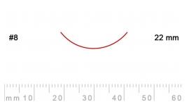 8/22-8/22, Pfeil, Gubia Recta corte #8, 22mm, curvada.