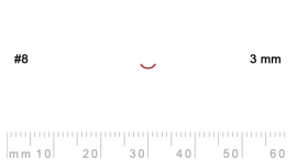 8/3-8/3, Pfeil, Gubia Recta corte 8, 3mm, curvada.