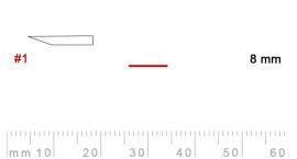 L 1/8-L 1/8, Pfeil, Gubia recta, corte 1, 8mm, mango pera.