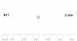 L 11/2-L 11/2, Pfeil, Gubia recta, corte 11, 2mm, mango pera.