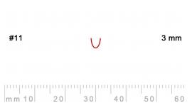 L 11/3-L 11/3, Pfeil, Gubia recta, corte 11, 3mm, mango pera.