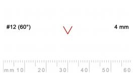 L 12/4-L 12/4, Pfeil, Gubia recta en V, corte 12 (60°), 4mm, mango pera.