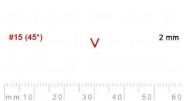 L 15/2-L 15/2, Pfeil, Gubia recta en V, corte 15 (45°), 2mm, mango pera.