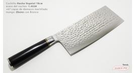 B1zEch18-Cuchillo Hacha Vegetal 18cm acero 1.4528+damasco Ebano+Bronce B1zEch18.