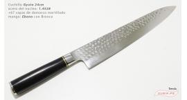 B1zEg24-Cuchillo Gyuto 24cm acero 1.4528+damasco martillado 67capas Ebano+Bronce B1zEg24.