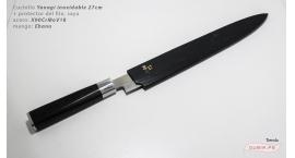 SEy27-Cuchillo Yanagi 27cm +protector acero inoxidable X90CrMoV18 Ebano SEy27.