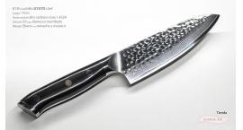 B13h-CS-17-Cuchillo Gyuto 17cm acero 1.4528+damasco martillado 67capas Ebano B13h-CS-17.