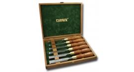 853200-853200, Narex Juego en caja de madera de 6pz Formones con mango de madera.