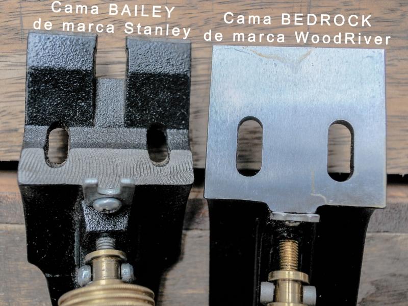 Imagen comparacion de inferior parte de cama de cepillo manual Bedrock Woodriver vs Bailey Stanley