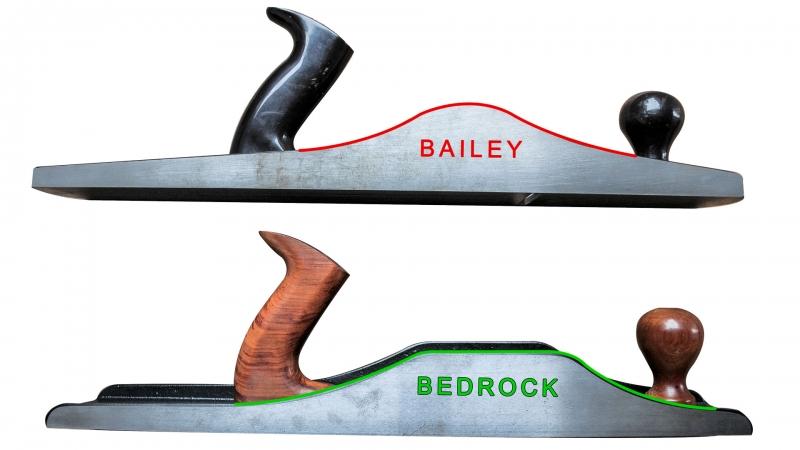 Comparacion de vista desde costado de la cama de cepillo manual Woodriver Bedrock vs. Bailey Stanley