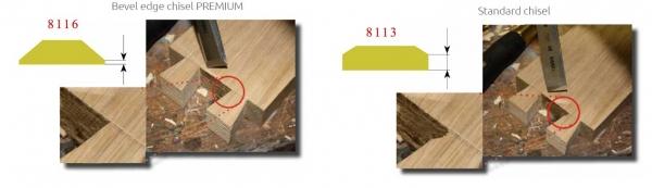 Comparacion entre formon biselado y formon estandar en la esquina de cola de milano