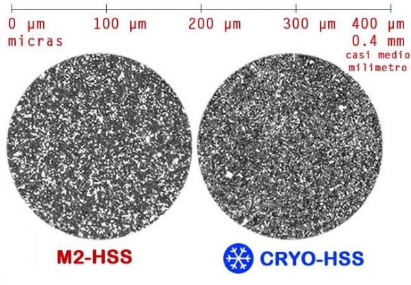 Estructura de acero HSS y HSS Criogenico abajo de microscopio